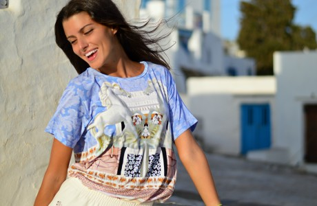 mary katrantzou white horses tshirt